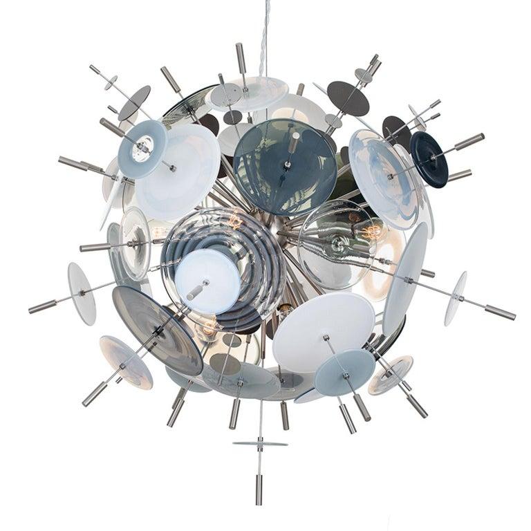 Confetti Glass Black and White Chandelier by Avram Rusu Studio For Sale