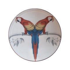 Sultan's Journey Red Parrots Porcelain Plate by Patch NYC for Les-Ottomans