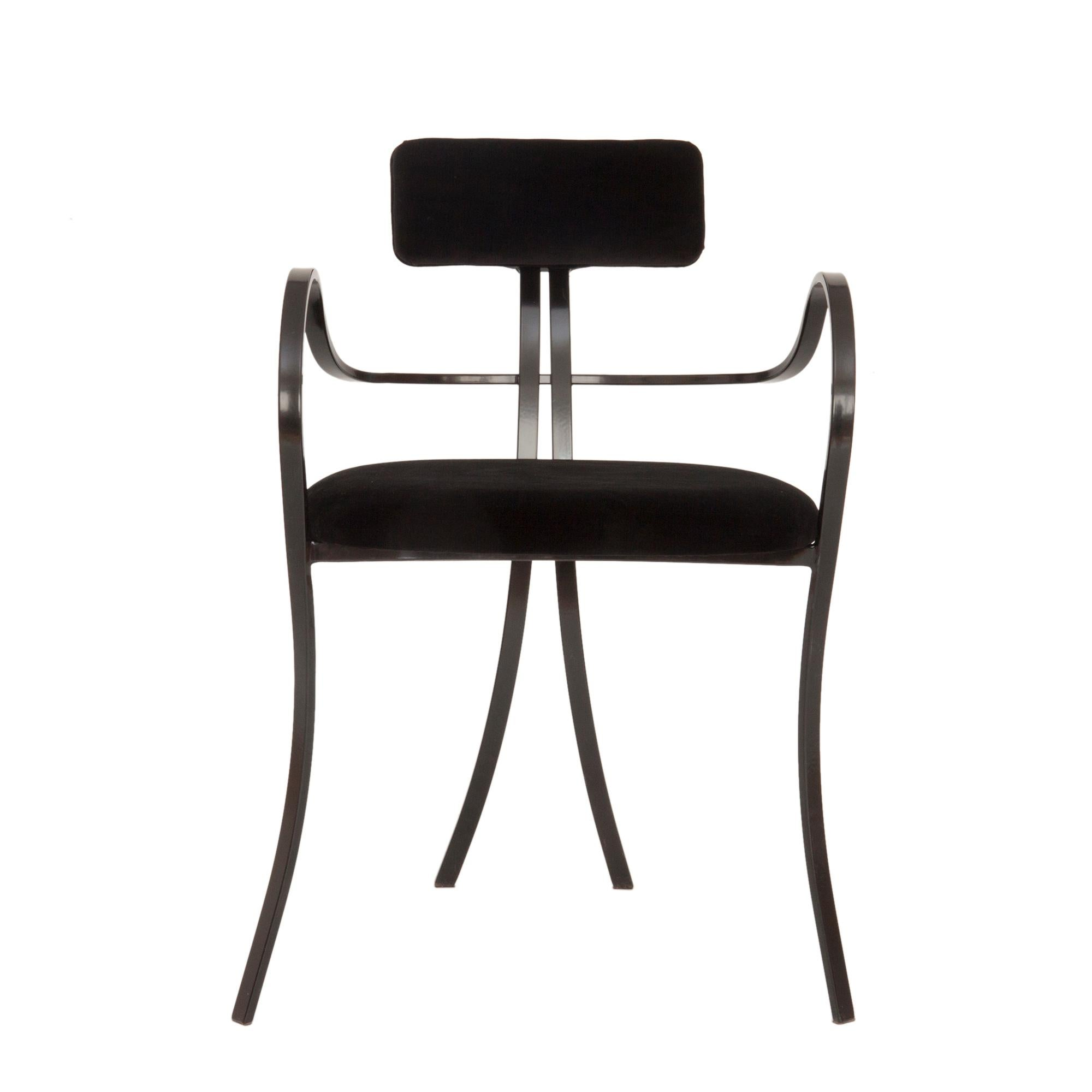 Contemporary Violet Chair with Velvet Seat and Seatback in Black Color