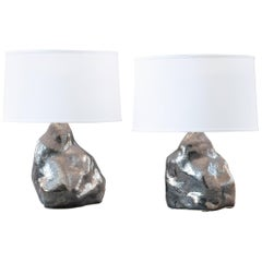 J Schatz Studio 2018 Platinum Amorphous Table Lamp Pair, One of a Kind