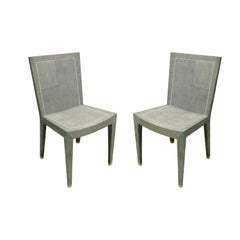 Karl Springer Rare Pair of JMF Chairs in Shagreen with Bone Inlays, 1980s