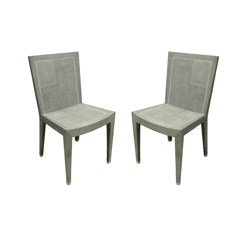Karl Springer Rare Pair of JMF Chairs in Shagreen with Bone Inlays, 1980s For Sale
