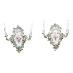 Meissen Porcelain Wall Sconces
