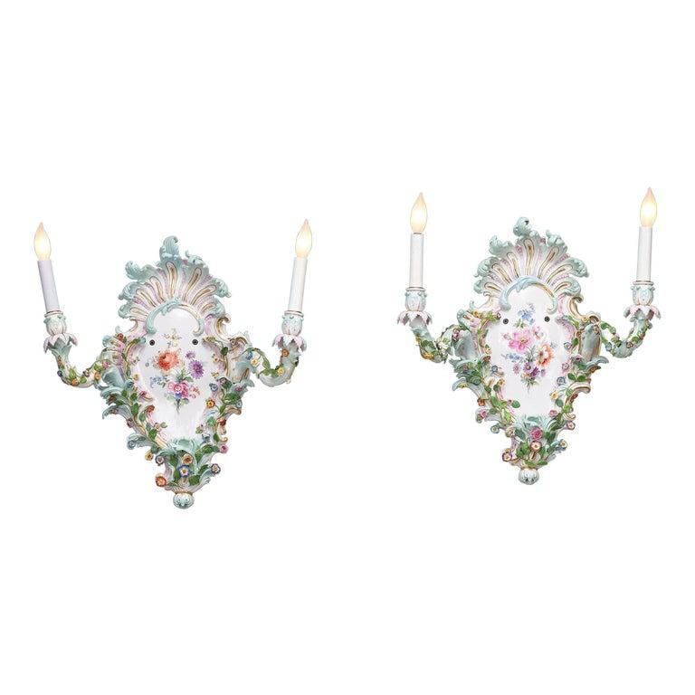 Meissen Porcelain Wall Sconces For Sale