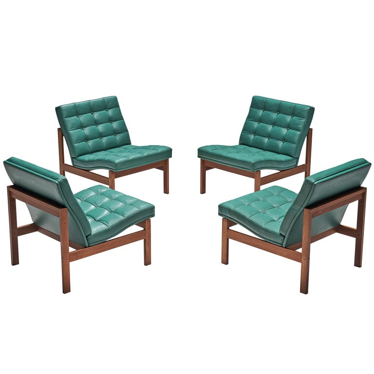 Knudsen And Lind Moduline Turquoise Leather Lounge Chairs