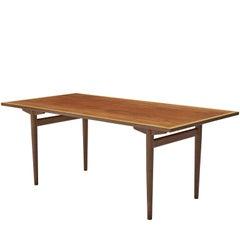 Rare Hans Wegner for Andres Tuck Table in Teak and Oak