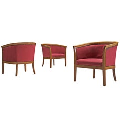 Set of Three Red French Club Chairs, 1940s