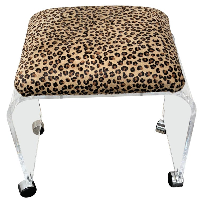 Mid-Century Modern Waterfall Lucite Stool or Bench with Faux Cheetah Fabric For Sale
