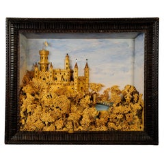 Antique Impressive Cork Carving with Castle Scene, circa 1880