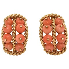 David Webb Pink Coral Gold Earrings