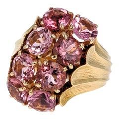 David Webb Pink Tourmaline and 18 Karat Gold Ring