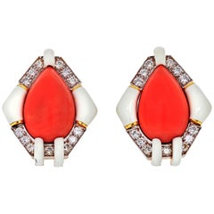 David Webb Platinum & 18 Karat Yellow Gold Coral, White Enamel, Diamond Earrings
