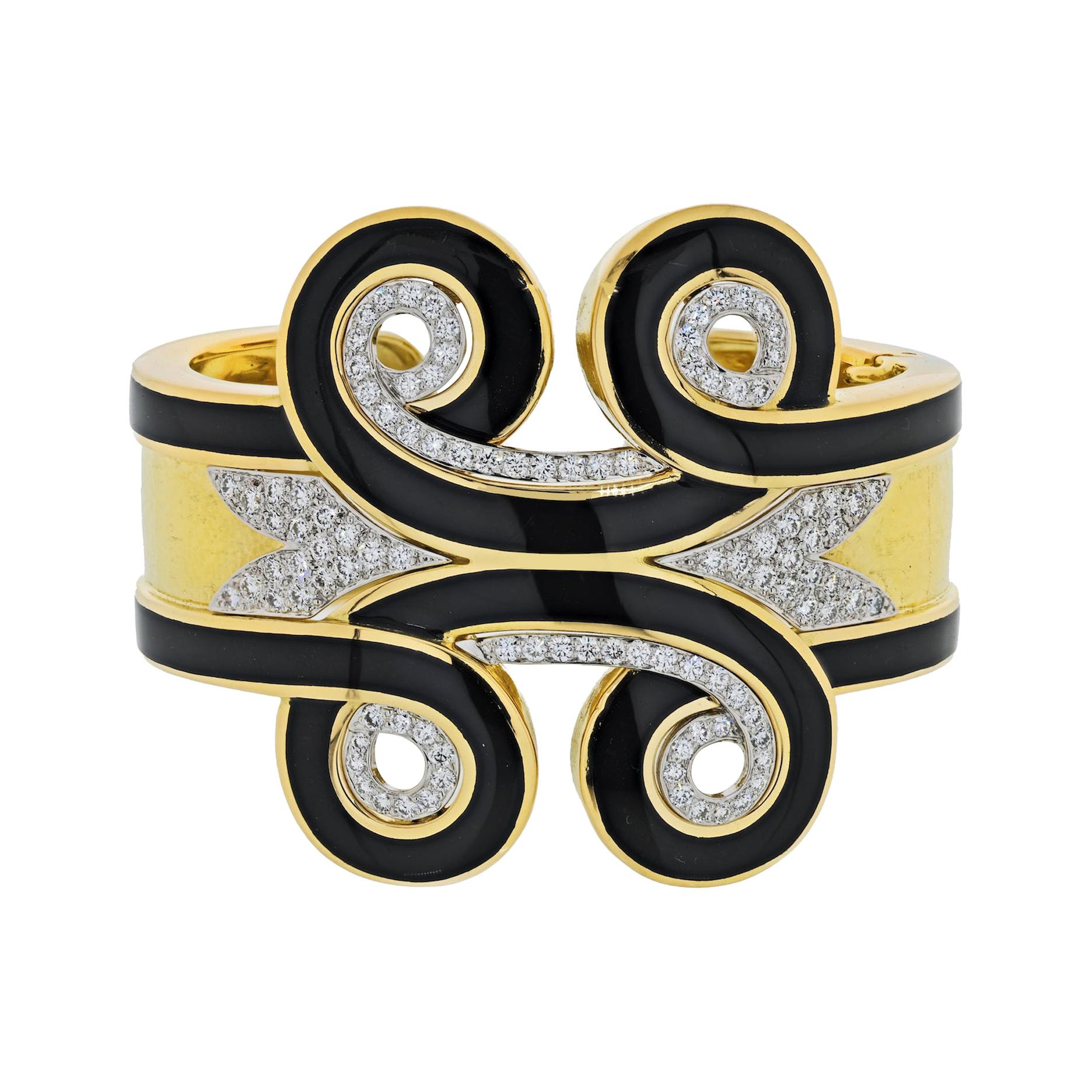 David Webb Platinum, 18k Gold Arabesque Black Enamel Diamond Cuff Bracelet