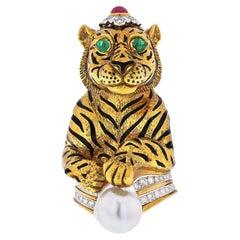 David Webb Platinum &18k Gold Black Striped Tiger with Emerald Ruby Pearl Brooch