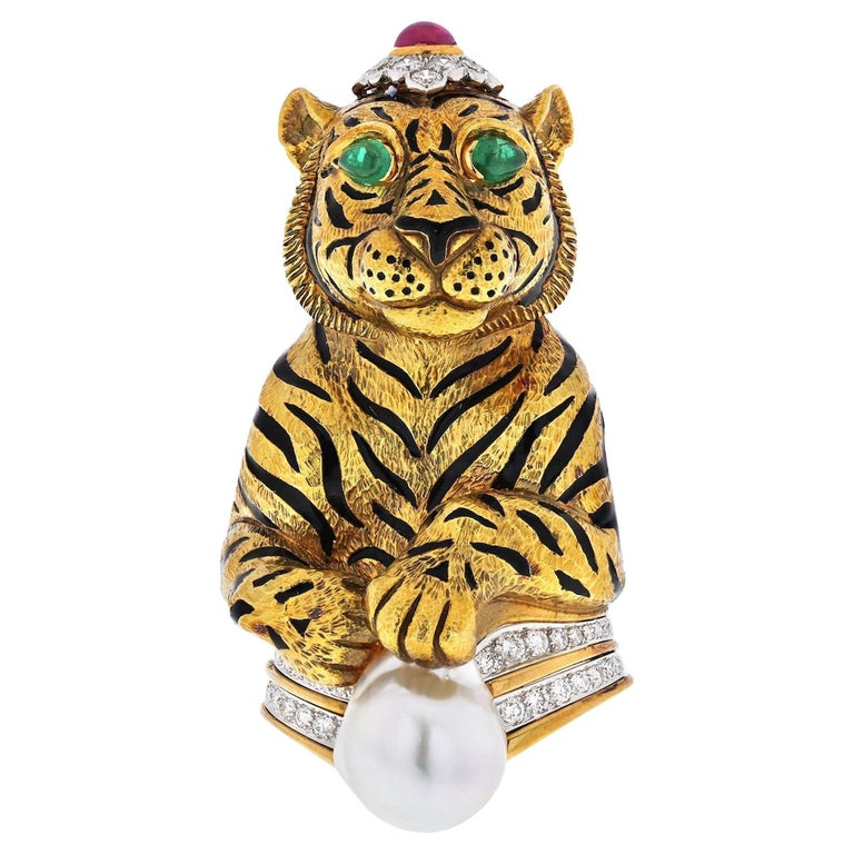 David Webb Platinum &18k Gold Black Striped Tiger with Emerald Ruby Pearl Brooch For Sale