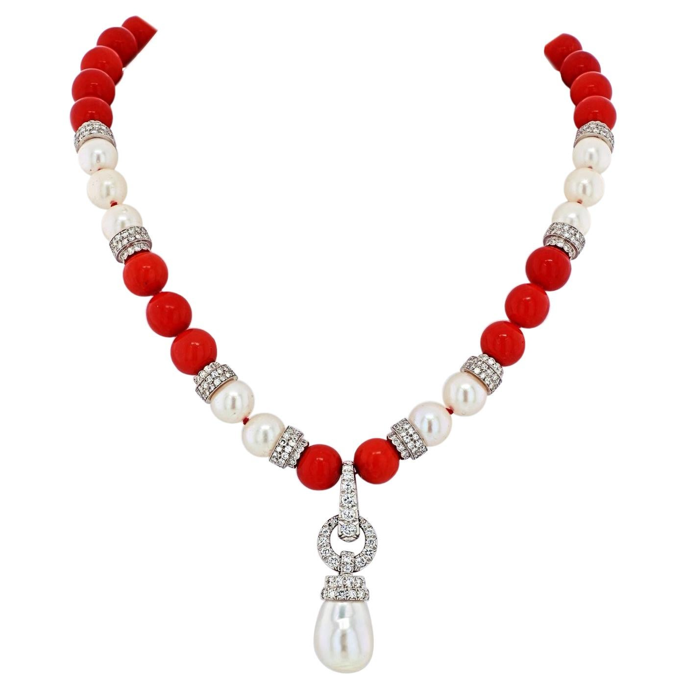 David Webb Platinum & 18k White Gold Coral, Diamond and Pearl Bead Necklace