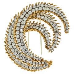 David Webb Platinum & 18K Yellow Gold 12 Carat Diamond Crescent Brooch