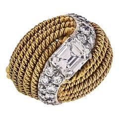 David Webb Platinum & 18K Yellow Gold 2.13 Carat Emerald Cut Turban Diamond Ring