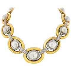 David Webb Platinum & 18K Yellow Gold Baraque Pearl and Diamond Collar Necklace