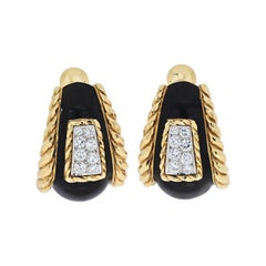 David Webb Platinum & 18k Yellow Gold Black Enamel Diamond Earrings