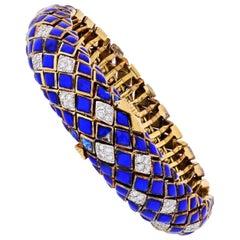David Webb Platinum and 18 Karat Yellow Gold Blue Enamel and Diamond Bracelet