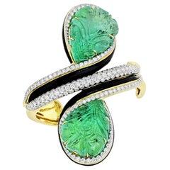 David Webb Platinum, 18K Yellow Gold Carved Emerald and Diamond Cuff Bracelet