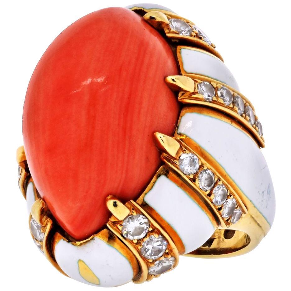 David Webb Platinum & 18K Yellow Gold Coral, White Enamel, Bombe Diamond Ring