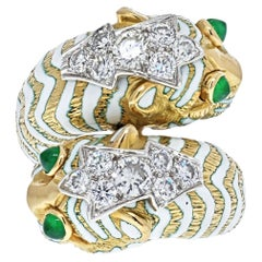 David Webb Platinum & 18K Yellow Gold Crossover Leopard Ring