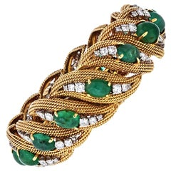 David Webb Platinum and 18 Karat Gold Diamonds, Cabochon Emeralds Bracelet
