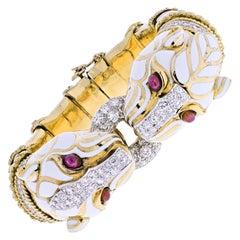 David Webb Platinum &18K Yellow Gold Double Head White Enamel Pantheres Bracelet