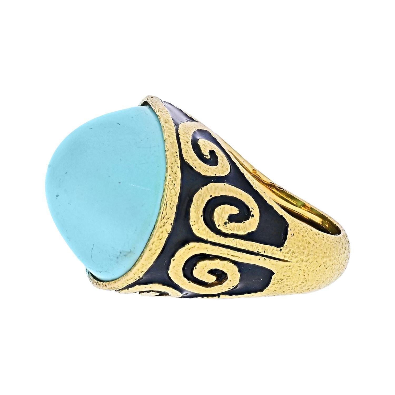 David Webb Platinum & 18k Yellow Gold Light Blue Turquoise Vintage Ring