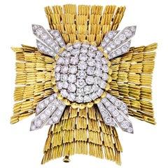 David Webb Platinum & 18k Yellow Gold Maltese Diamond Brooch