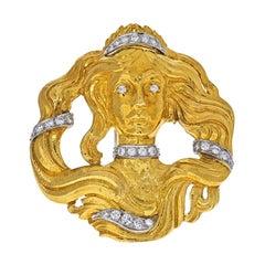 David Webb Platinum & 18k Yellow Gold Medusa Diamond Pendant Brooch