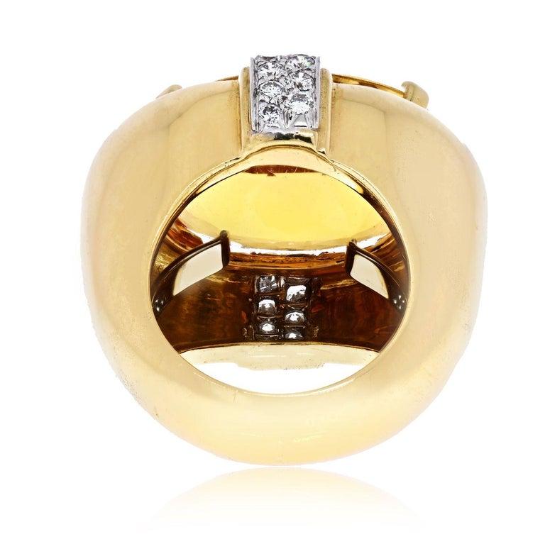Modern David Webb Platinum & 18K Yellow Gold Oval Citrine and Diamond Ring For Sale