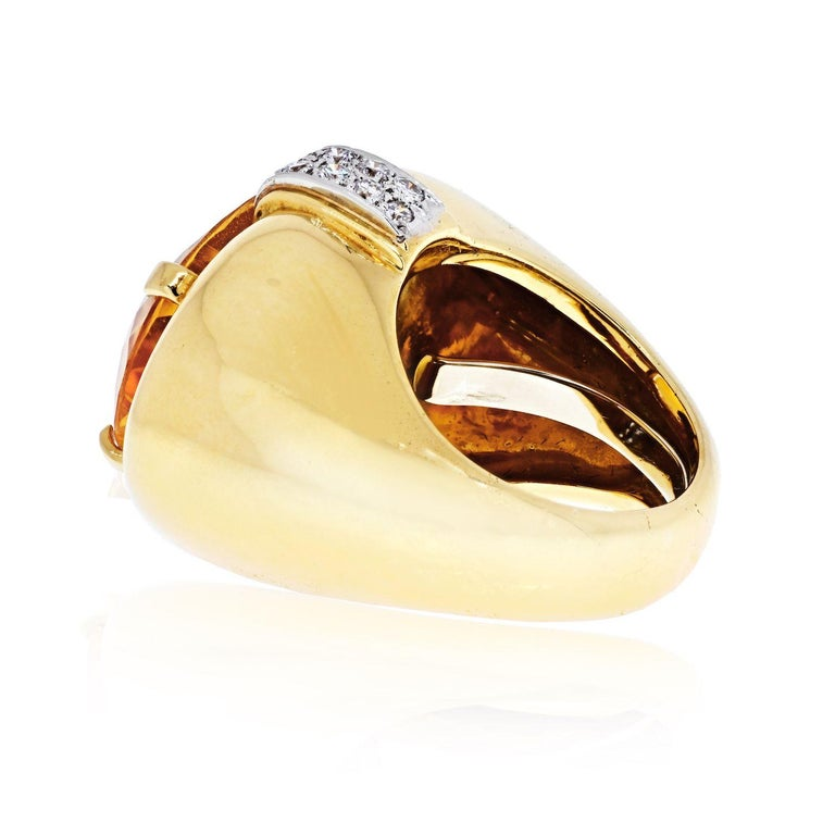 Oval Cut David Webb Platinum & 18K Yellow Gold Oval Citrine and Diamond Ring For Sale