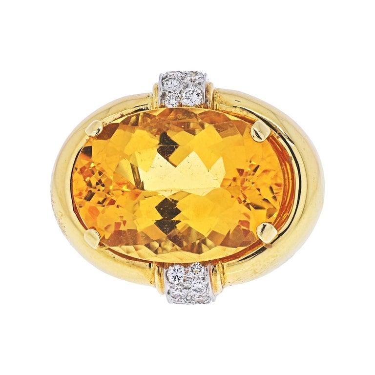 David Webb Platinum & 18K Yellow Gold Oval Citrine and Diamond Ring For Sale
