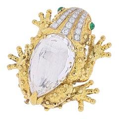 David Webb Platinum & 18k Yellow Gold Rock Crystal Frog Brooch