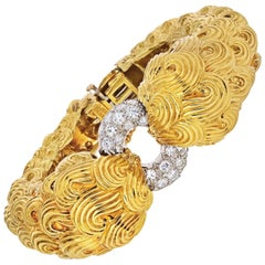 David Webb Platinum & 18K Yellow Gold Textured Scrolls, and Diamond Bracelet