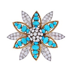 David Webb Platinum & 18K Yellow Gold Turquoise, Diamond Flower Brooch