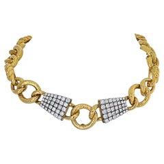 David Webb Platinum & 18k Yellow Gold Twisted Rope Link Diamond Collar Necklace