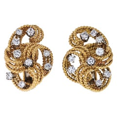 David Webb Platinum & 18k Yellow Gold Twisted Woven Diamond Earrings