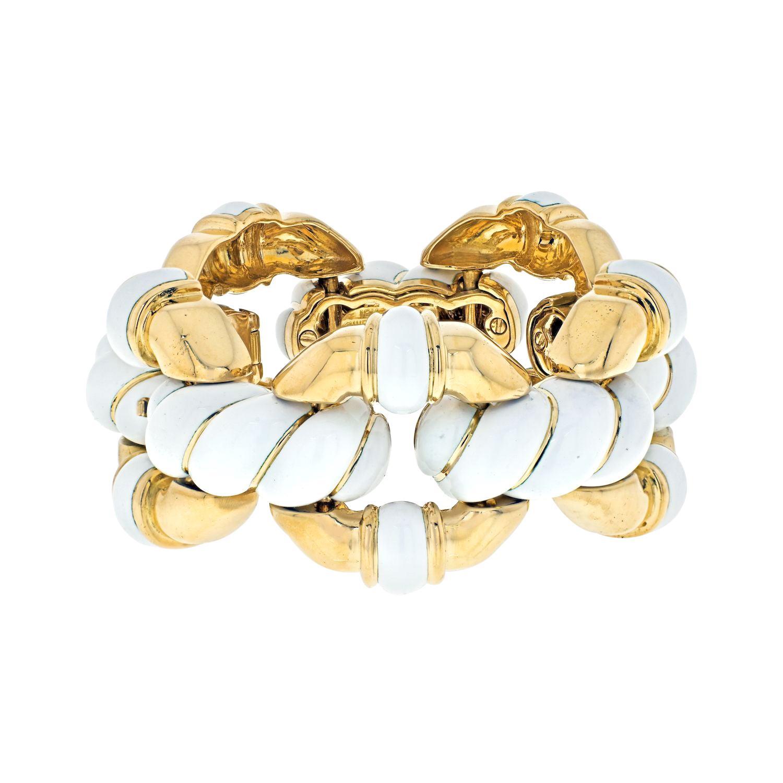 David Webb Platinum & 18k Yellow Gold White Enamel Link Bracelet