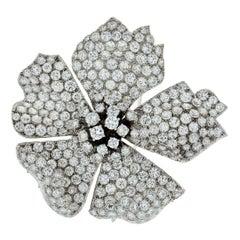 David Webb Platinum 19 Carat Round Diamond Flower Brooch