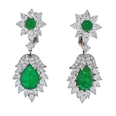 David Webb Platinum 1970's Green Emerald and Diamond Hanging Earrings