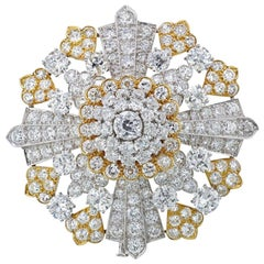 David Webb Platinum 40.00 Carat Old Cut Diamond Brooch