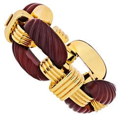David Webb Platinum abd 18 Karat Yellow Gold Fluted Carnelian Link Bracelet
