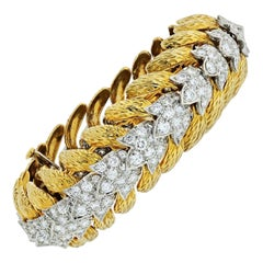 David Webb Platinum and 18 Karat Yellow Gold 25 Carat Diamond Bracelet