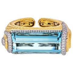 David Webb Platinum and 18 Karat Yellow Gold Aquamarine Diamonds Bangle Bracelet
