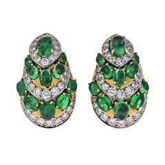 David Webb Platinum and 18 Karat Yellow Gold Diamond and Green Emerald Earrings
