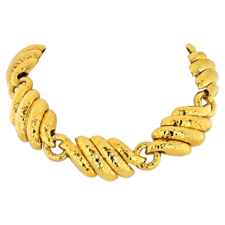 David Webb Platinum and 18 Karat Yellow Gold Heavy Collar Necklace